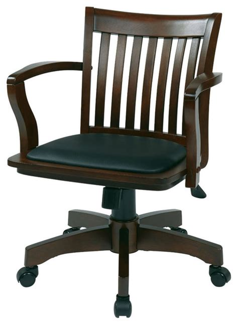 espresso bankers chair with black vinyl padded seat and wood arms office chairs by hearts attic