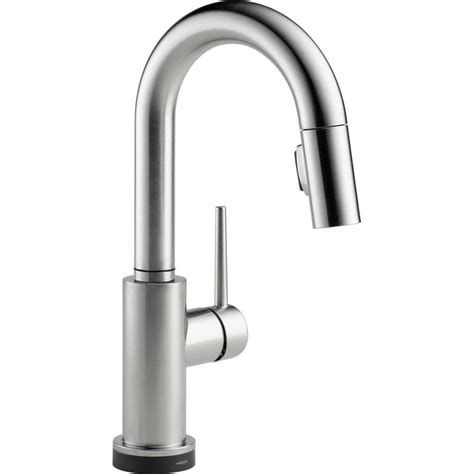 delta trinsic single handle pull sprayer bar faucet featuring touch2o technology in arctic