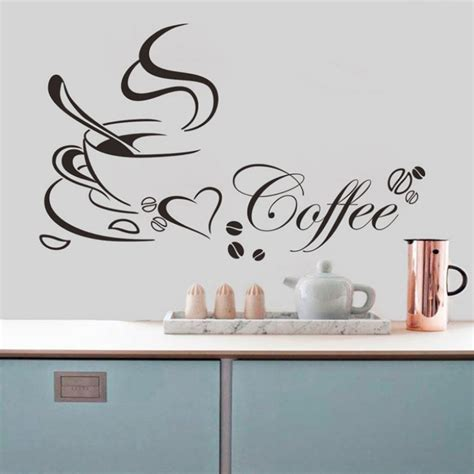 amazing 2015 removable kitchen decor sticker coffee cup home decals vinyl wall sticker