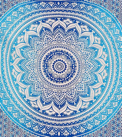 Blue Ombre Indian Wall Hanging Hippie Mandala Tapestry