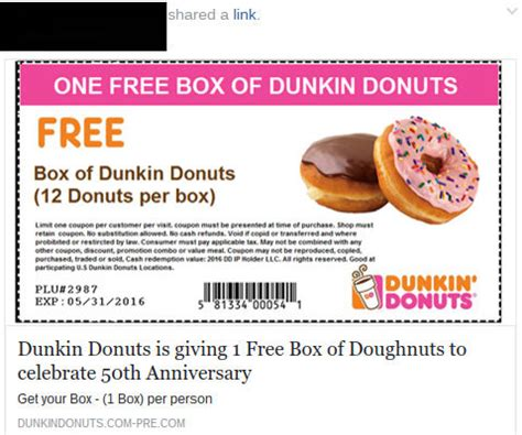 Dunkin Donuts Special August Coupons   Printable Coupons
