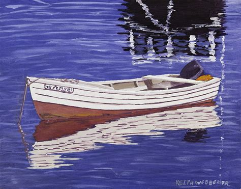 Boats And Harbors Online by Small Motor Boat In Maine Harbor Painting By Keith Webber Jr