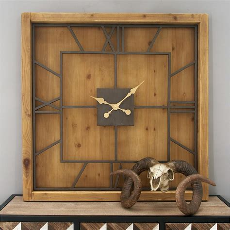 40 In X 40 In Brown Rustic Wooden Square Wall Clock