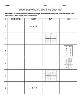 Linear Quadratic Exponential Equations Worksheet  Kidz Activities