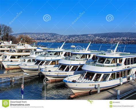 Ship Zurich Lake by Ships At Pier On The Lake Zurich In Winter Editorial Image