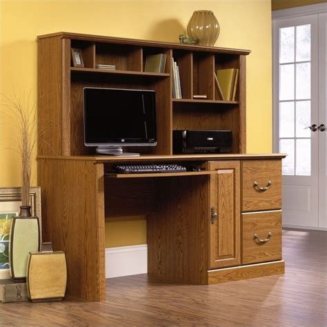 White Office Chairs Staples by Wood Computer Desk With Hutch In Carolina Oak 401354