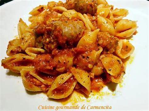 recette de p 226 te escargot en sauce tomate et saucisse de toulouse