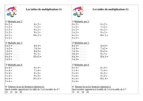 exercice table de multiplication ce1 table de lit a roulettes