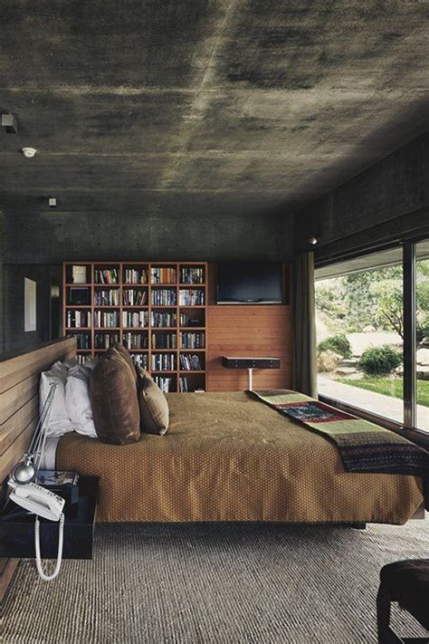 modern bachelor bedroom library