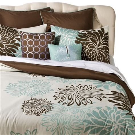 anya 8 floral print bedding set blue brown target