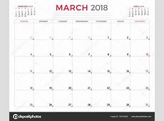 2018 年 3 月。日历策划设计模板。周从星期日开始。文具设计 — 图库矢量图像© AntartStock