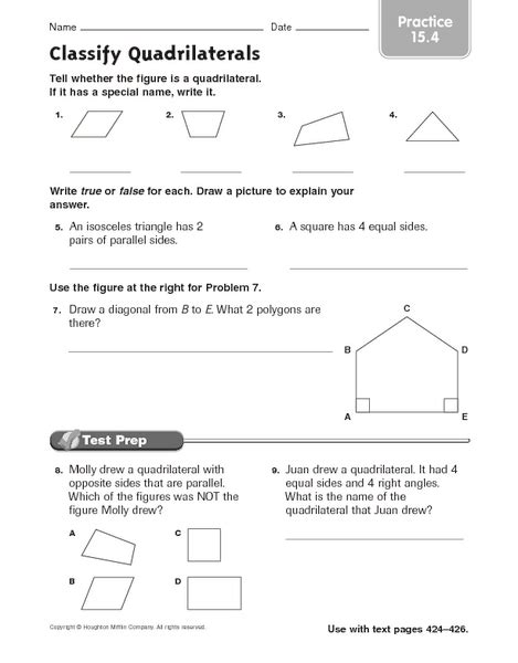 Types Of Quadrilaterals Worksheet 4th Grade  Worksheets Geometry And Education On