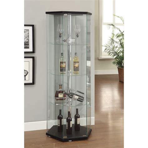coaster hexagon glass curio cabinet in black 950276