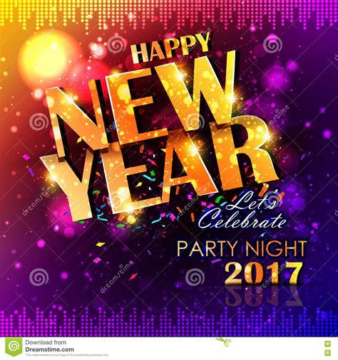 Happy New Year 2017 Party Celebration Poster Cartoon Vector  Cartoondealercom #81007827