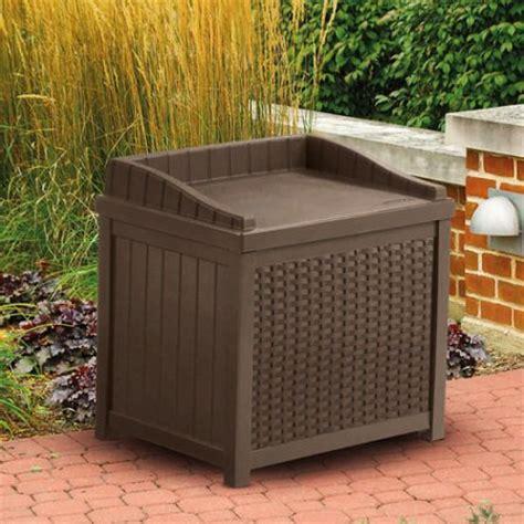 suncast 22 gallon java resin wicker small storage seat deck box ssw1200 walmart