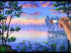 comment peindre un lac avec la peinture acrylique sur toile
