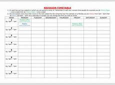 Revision Timetable by itlec1 Teaching Resources Tes