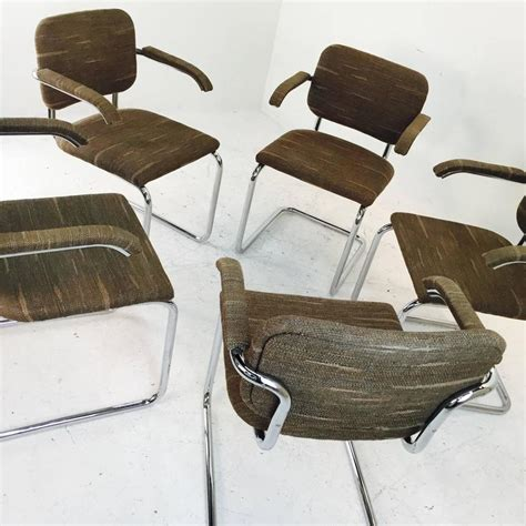 set of five cesca marcel breuer chairs for knoll with
