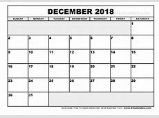 December 2018 Calendar Word calendar month printable
