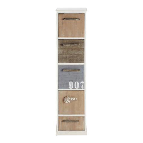 colonne de rangement en bois blanche h 120 cm molene maisons du monde