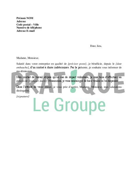 modele lettre de demission sans preavis gratuit document