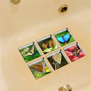 pag 6pcs 13x13cm butterfly pattern 3d anti slip waterproof bathtub sticker alex nld