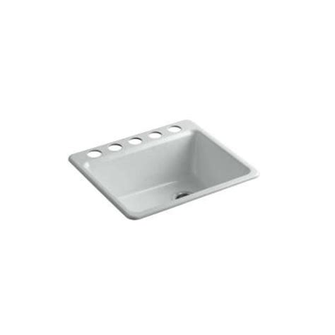 kohler riverby undermount cast iron 25 in 5 single bowl kitchen sink with basin rack in