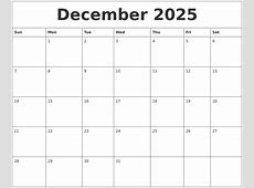 December 2025 Printable Blank Monthly Calendar