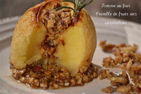 pomme au four et crumble de fruits secs caram 233 lis 233 s