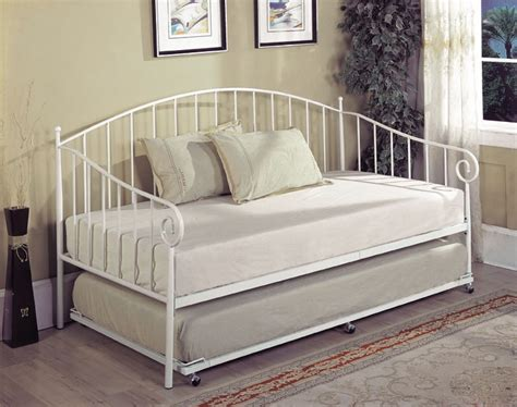 bt01wh series white metal size day bed frame with