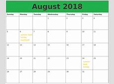 August 2018 Calendar Holidays – Printable Templates Letter