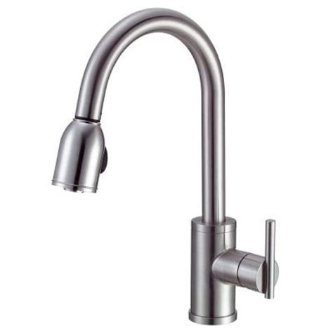 danze parma side mount single handle pull sprayer kitchen faucet in stainless steel