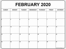 Free February 2020 Calendar Download Template Calendar