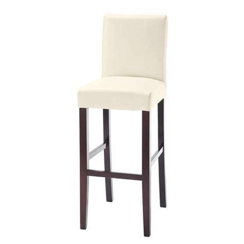chaise de bar en tissu et bois teint 233 blanche boston maisons du monde
