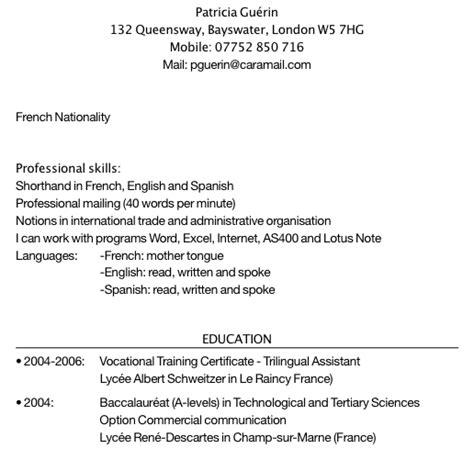 exemple cv anglais references sle resume