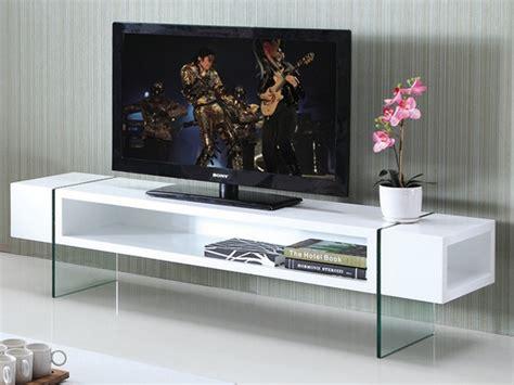 meuble tv mdf laqu 233 et verre tremp 233 blanc