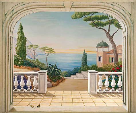 poster trompe l oeil paysage italien balustres trompe l oeil house