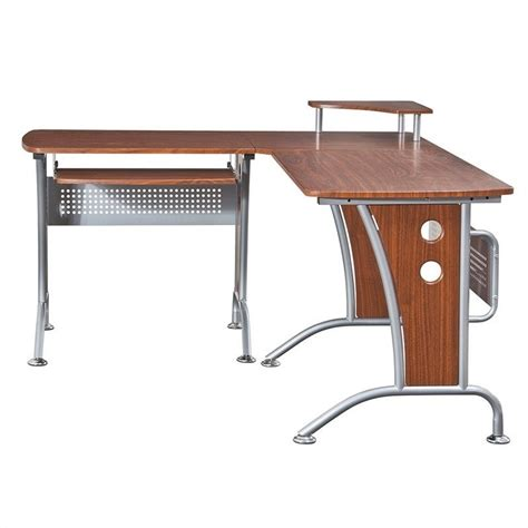techni mobili l shape corner wood metal workstation mahogany computer desk ebay