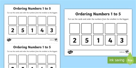 Ordering Numbers To 5 Worksheet  Activity Sheet  Place Value
