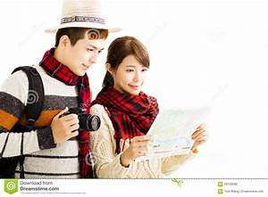 Young Couple Enjoy Travel With Autumn Wear Stock Photo ...