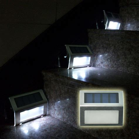 pack of 4 outdoor stainless steel led solar step stairs light illuminates stairs deck patio