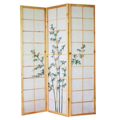 paravent bois naturel avec dessin bambou vert 3 pans
