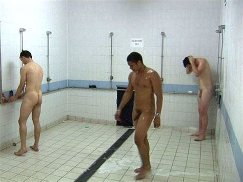 athletes in locker room shower athelets showers in and lockers