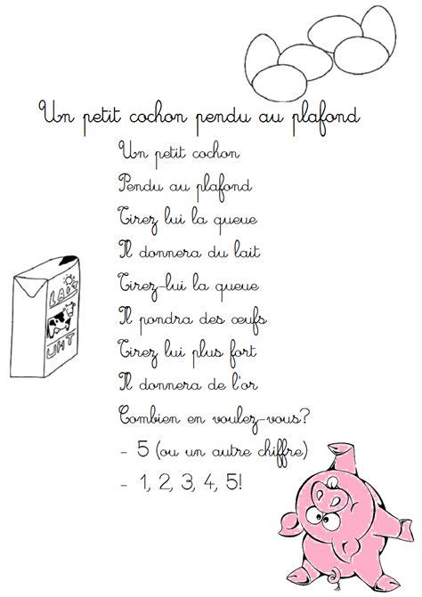 comptine un petit cochon pendu au plafond paroles illustr 233 es un petit cochon