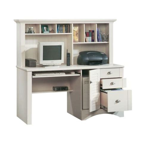 sauder harbor view collection antiqued white computer desk with hutch 158034 the home depot