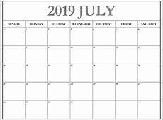 Download July 2019 Blank Calendar Template Free