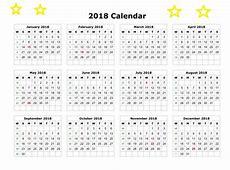 2018 Printable Calendar Template Calendar 2018
