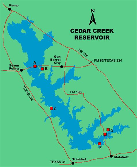 Public Boat Rs At Cedar Creek Lake by Clickable Map Of Lake