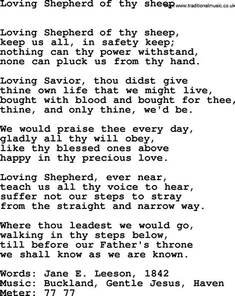 hymns ancient and modern song loving shepherd of thy sheep lyrics midi and pdf
