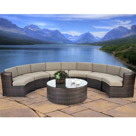 serenity 7 semicircle sectional sofa set all weather wicker outdoor sectional set family